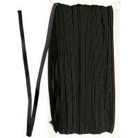 Cordon élastique, L: 6 mm, noir, 50 m/ 1 rouleau