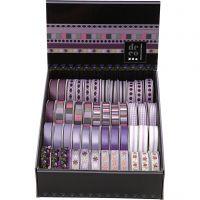 Rubans décoratifs - Assortiment, L: 10 mm, violet, 48x2 m/ 1 Pq.