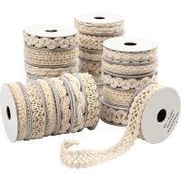 Rubans décoratifs, L: 6-18 mm, crème, 56x0,9 m/ 1 Pq.