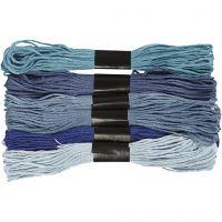 Fil à broder, ép. 1 mm, harmonie de bleus, 6 boule/ 1 Pq.