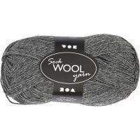 Pelote de laine pour chaussettes, L: 200 m, gris foncé, 50 gr/ 1 boule