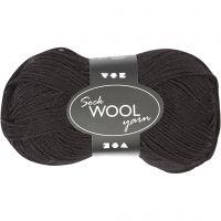 Pelote de laine pour chaussettes, L: 200 m, noir, 50 gr/ 1 boule