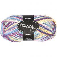 Pelote de laine pour chaussettes, L: 200 m, harmonie violet/rose, 50 gr/ 1 boule