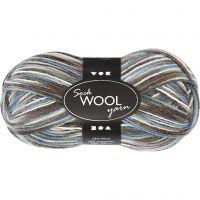 Pelote de laine pour chaussettes, L: 200 m, harmonie bleu/gris, 50 gr/ 1 boule