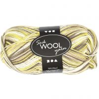Pelote de laine pour chaussettes, L: 200 m, vert, jaune, 50 gr/ 1 boule