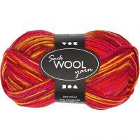 Pelote de laine pour chaussettes, L: 200 m, harmonie rouge/orange, 50 gr/ 1 boule