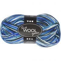 Pelote de laine pour chaussettes, L: 200 m, harmonie bleu/turquoise, 50 gr/ 1 boule