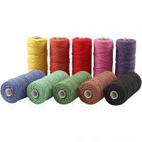 Ficelle de coton, L: 315 m, ép. 1 mm, Qualité fine 12/12, Couleurs vives, 10x220 gr/ 1 Pq.