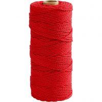 Ficelle de coton, L: 100 m, ép. 2 mm, Qualité épaisse 12/36, rouge, 225 gr/ 1 boule
