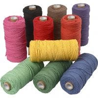 Ficelle de coton, L: 100 m, ép. 2 mm, Qualité épaisse 12/36, Couleurs vives, 10x225 gr/ 1 Pq.