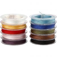 Cordon pour macramé, ép. 1 mm, couleurs assorties, 10x50 m/ 1 Pq.