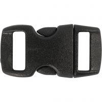 Fermeture à click, L: 29 mm, L: 15 mm, diamètre intérieur 3x11 mm, noir, 4 pièce/ 1 Pq.