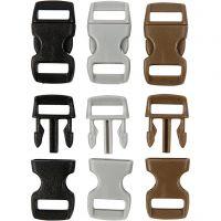 Fermeture à click, L: 29 mm, L: 15 mm, diamètre intérieur 3x11 mm, noir, brun, gris, 100 pièce/ 1 Pq.