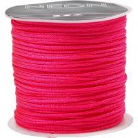 Corde pour macramé, ép. 1 mm, rose néon, 28 m/ 1 rouleau