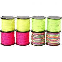 Corde pour macramé, ép. 1 mm, vert néon, rose néon, jaune néon, couleurs néons, 8x28 m/ 1 Pq.