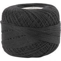 Pelote de fil de coton mercerisé, noir, 20 gr/ 1 boule