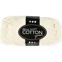 Pelote de fil de coton, dim. 8/8, L: 80-85 m, dim. maxi , crème, 50 gr/ 1 boule