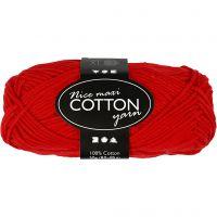 Pelote de fil de coton, dim. 8/8, L: 80-85 m, dim. maxi , rouge, 50 gr/ 1 boule