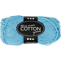 Pelote de fil de coton, dim. 8/8, L: 80-85 m, dim. maxi , turquoise, 50 gr/ 1 boule