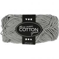 Pelote de fil de coton, dim. 8/8, L: 80-85 m, dim. maxi , gris, 50 gr/ 1 boule