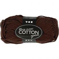 Pelote de fil de coton, dim. 8/8, L: 80-85 m, dim. maxi , brun, 50 gr/ 1 boule