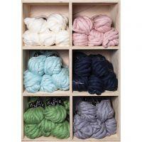 Pelote de laine acrylique épaisse, L: 15 m, dim. mega , couleurs assorties, 6x5 boule/ 1 Pq.