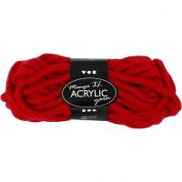 Pelote de laine acrylique épaisse, L: 17 m, dim. manga , rouge foncé, 200 gr/ 1 boule
