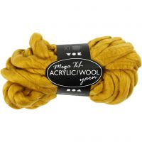 Pelote de laine acrylique épaisse, L: 15 m, dim. mega , jaune foncé, 300 gr/ 1 boule