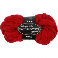 Pelote de laine acrylique épaisse, L: 15 m, dim. mega , rouge foncé, 300 gr/ 1 boule