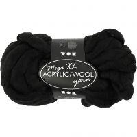 Pelote de laine acrylique épaisse, L: 15 m, dim. mega , noir, 300 gr/ 1 boule
