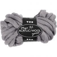 Pelote de laine acrylique épaisse, L: 15 m, dim. mega , gris, 300 gr/ 1 boule