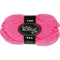 Pelote de laine acrylique Fantasia, L: 80 m, rose néon, 50 gr/ 1 boule
