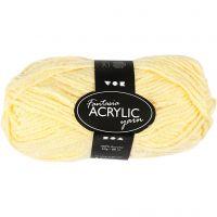 Pelote de laine acrylique Fantasia, L: 80 m, jaune clair, 50 gr/ 1 boule
