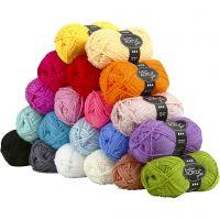 Pelote de laine acrylique Fantasia, L: 80 m, couleurs assorties, 20x50 gr/ 1 Pq.