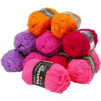 Pelote de laine acrylique Fantasia, L: 80 m, couleurs assorties, 10x50 gr/ 1 Pq.
