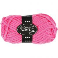 Pelote de laine acrylique Fantasia, L: 35 m, dim. maxi , rose néon, 50 gr/ 1 boule