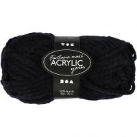 Pelote de laine acrylique Fantasia, L: 35 m, dim. maxi , noir, 50 gr/ 1 boule