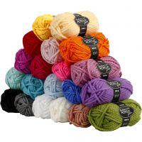 Pelote de laine acrylique Fantasia, L: 35 m, dim. maxi , couleurs assorties, 20x50 gr/ 1 Pq.
