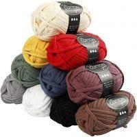 Pelote de fil de coton tubulaire, L: 45 m, couleurs assorties, 10x100 gr/ 1 Pq.