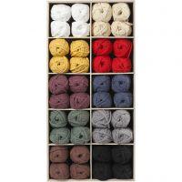 Pelote de fil de coton tubulaire, L: 45 m, couleurs assorties, 100 boule/ 1 Pq.