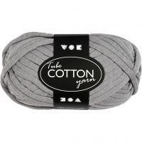 Pelote de fil de coton tubulaire, L: 45 m, gris, 100 gr/ 1 boule