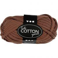 Pelote de fil de coton tubulaire, L: 45 m, brun, 100 gr/ 1 boule