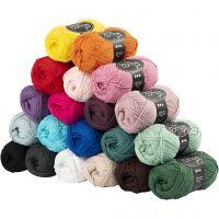 Pelote de fil de coton, dim. 8/4, L: 170 m, Le contenu peut varier , couleurs assorties, 20x50 gr/ 1 Pq.