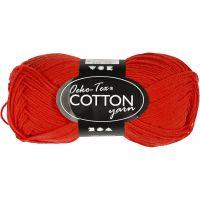 Pelote de fil de coton, dim. 8/4, L: 170 m, rouge, 50 gr/ 1 boule