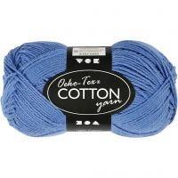 Pelote de fil de coton, dim. 8/4, L: 170 m, bleu, 50 gr/ 1 boule