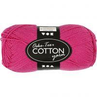Pelote de fil de coton, dim. 8/4, L: 170 m, rose, 50 gr/ 1 boule