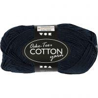 Pelote de fil de coton, dim. 8/4, L: 170 m, bleu foncé, 50 gr/ 1 boule