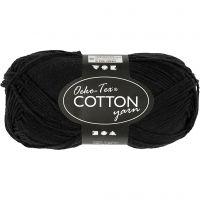 Pelote de fil de coton, dim. 8/4, L: 170 m, noir, 50 gr/ 1 boule