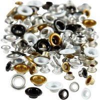 Oeillets, H: 2,9+3,15 mm, d: 5+8 mm, diamètre intérieur 3,2+4,8 mm, 120 pièce/ 1 Pq.