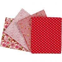 Tissu Patchwork, dim. 45x55 cm, 100 gr, rouge, 4 pièce/ 1 Pq.